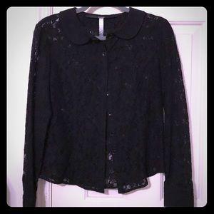 Kensie black lace blouse